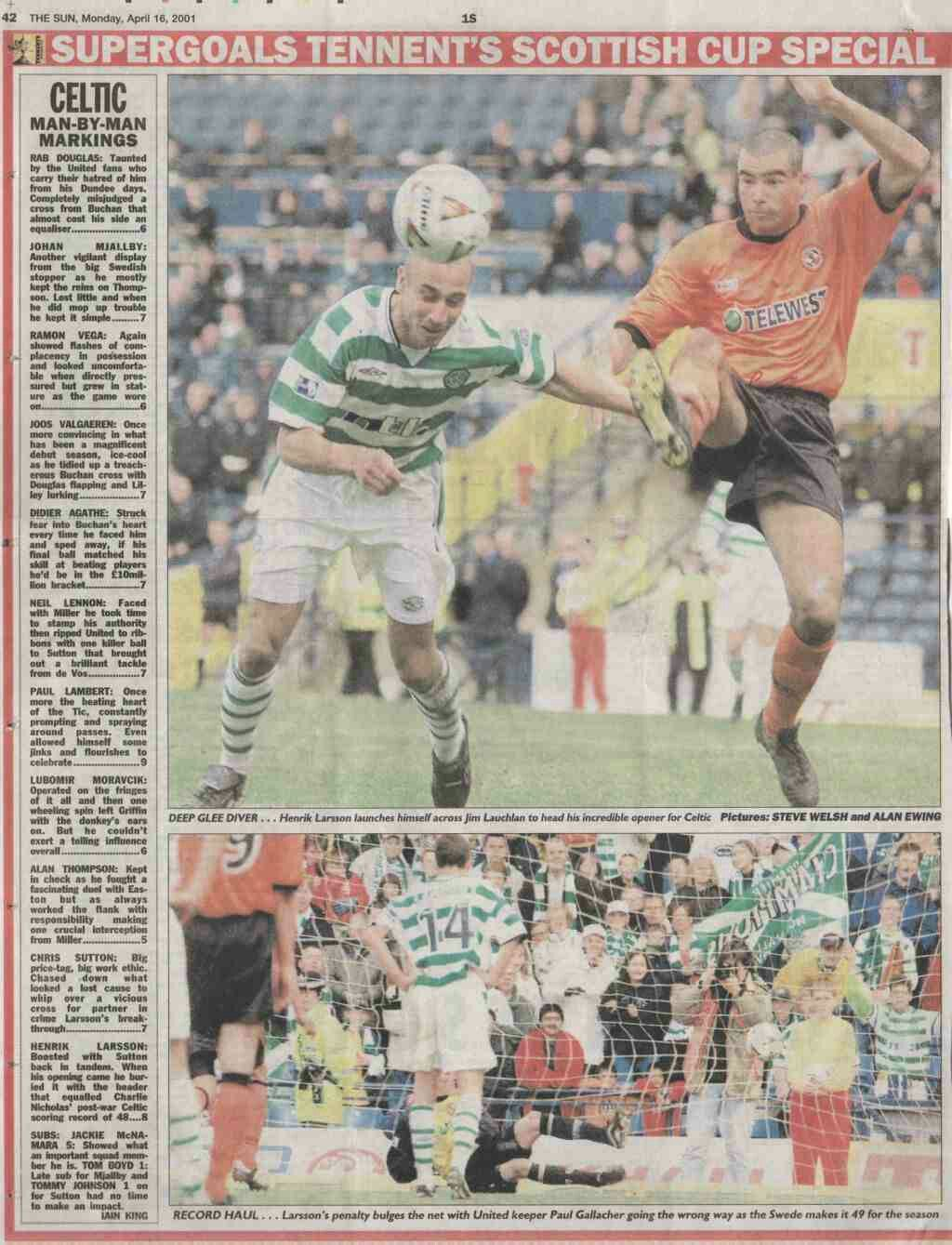 Celtic 3 Dundee Utd 1 in April 2001 at Hampden Park. Report from a newspaper on the Scottish Cup Semi Final.