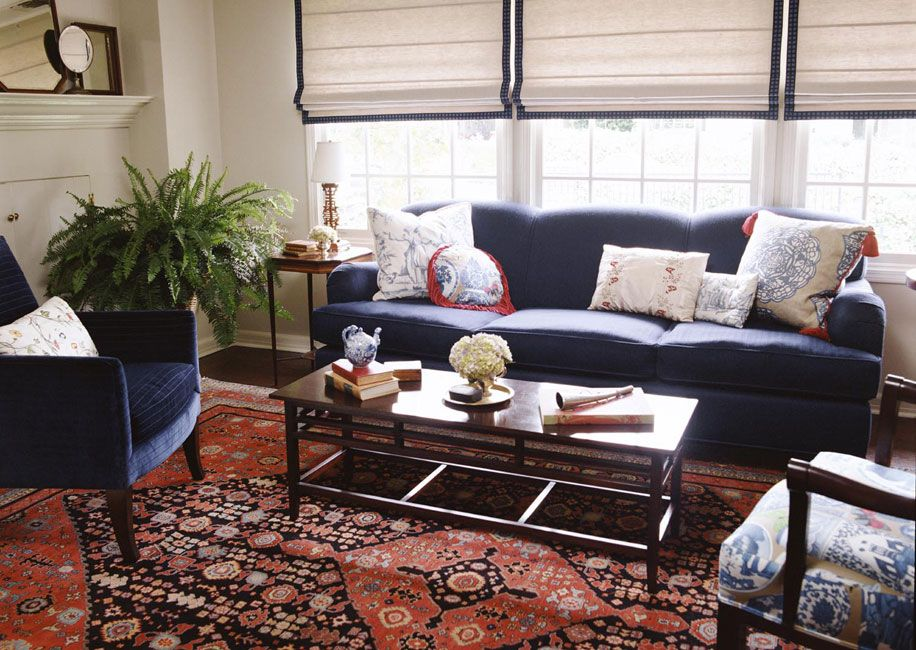 Navy upholstery with red oriental rug alexandra angle for Bedroom decorating ideas with red carpet