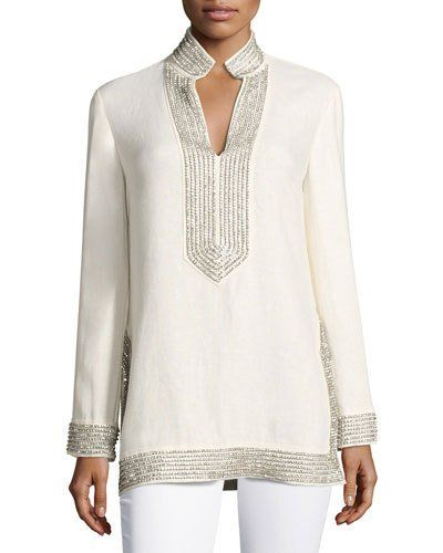46b7d3f9c32 TVSEK Tory Burch Crystal-Embellished Linen Tunic, Ivory | Gowns of ...