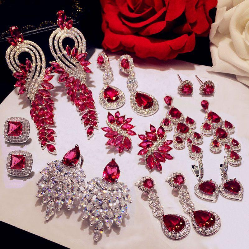 Charm Red Crystal Ruby Water Drop Dangle Stud Earrings Womens Wedding Jewellery