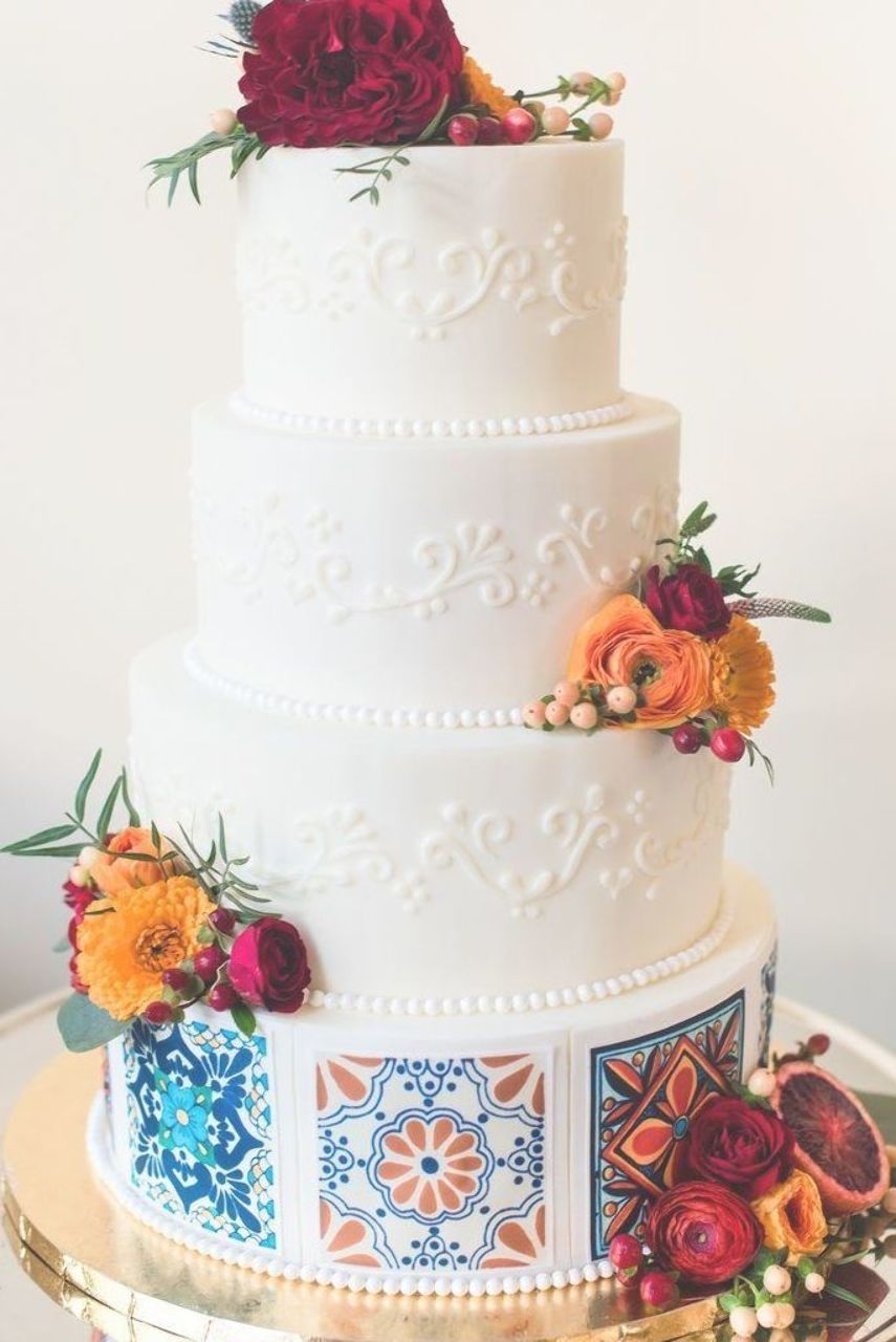A Wedding Cake With A Spanish Flavour Perfect For A Destination Wedding Wedding Cakes Vintage Mexican Wedding Cake Mexican Themed Weddings
