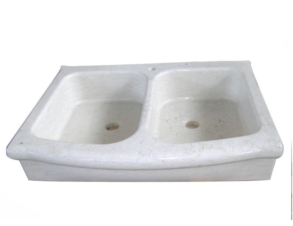 Lavello cucina a due vasche, testa sagomata e fondo inclinato ...
