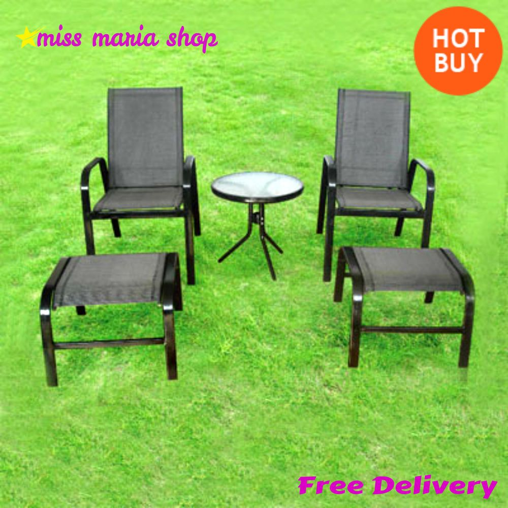 Garden Patio Set 5 Pc Furniture Waterproof Glass Table Chairs Footrest  Outdoor