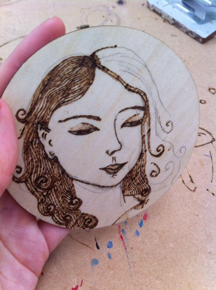 Start of my small wood burning girls face.   My Wood burning   Pinterest
