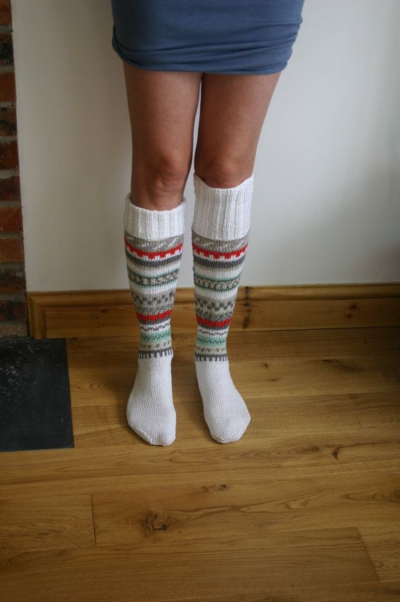 Extra Long Cotton Rich Hand Knitted Fair Isle by JaxinaBox on Etsy ...