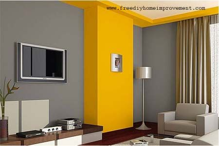 Gray with yellow painted accent walls and trim. Looks Fabulous ...