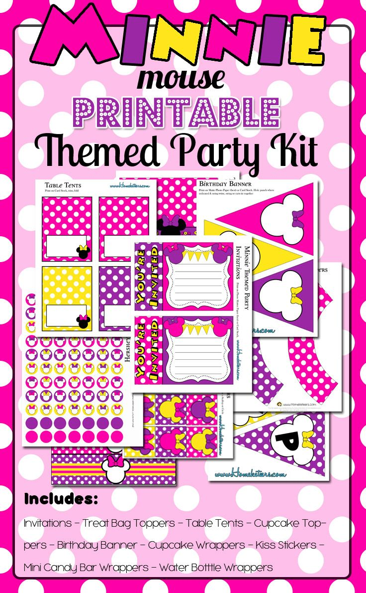 Minnie Mouse Themed Birthday Party Printables Free For 72 Hours