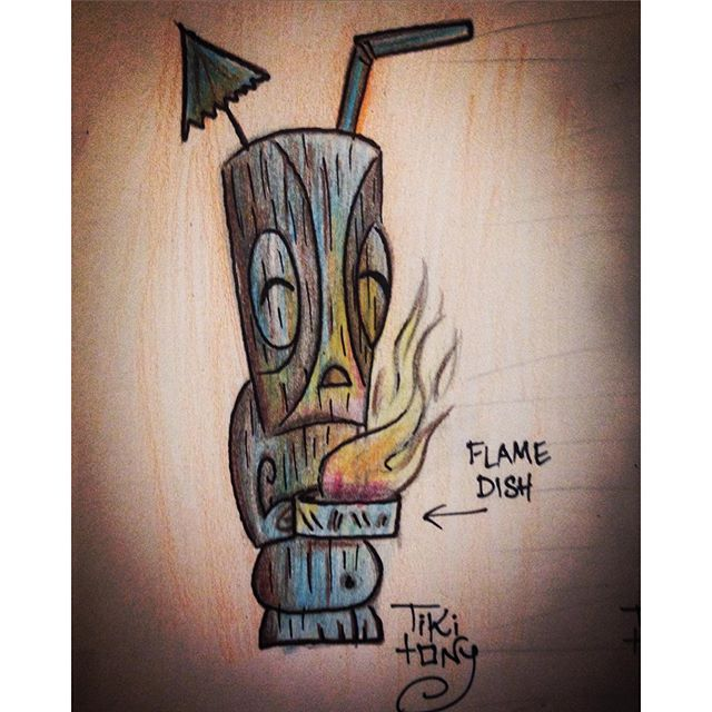 """""""We've done a mug that rocks back and forth, but it's time for one that smokes with dry ice or flames with rum! #tiki #tikimug #tikitony #tikitonymug #flamingdrink #mixology #cocktail #tradersams #disney #disneyart #disneyland #beachcomber #tikiart #tikimenu #design #tikidecor"""" Photo taken by @tikitony on Instagram, pinned via the InstaPin iOS App! http://www.instapinapp.com (03/21/2016)"""