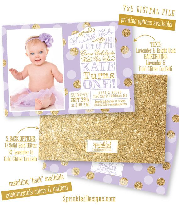 First birthday girl invitation photo card lavender purple gold first birthday girl invitation photo card lavender purple gold glitter confetti big one 1st bday custom printable party invite by sprinkleddesign filmwisefo