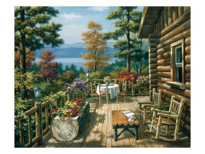 Christmas In A Log Cabin Log Cabin Porch Porch Paint Pictures Country Art