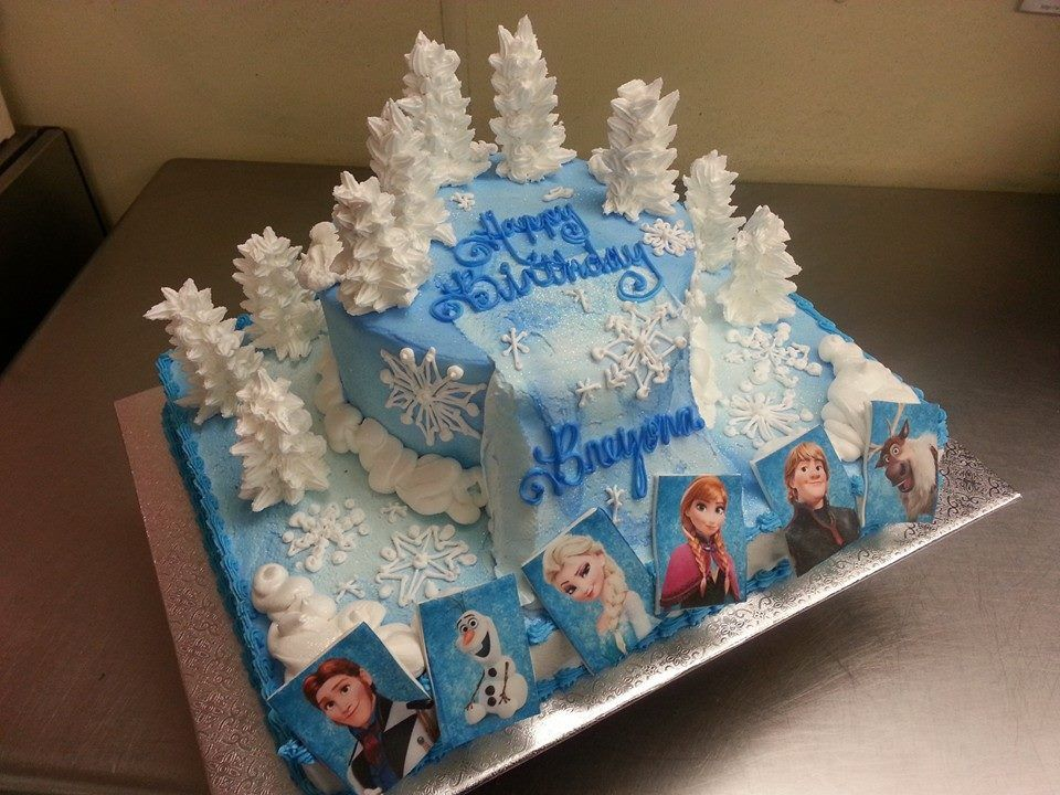 Frozen Cake With 1 2 Sheet 8 Round On Top With Images