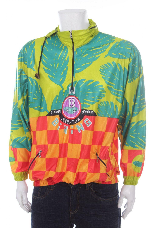 Vintage 90s Bogner Windbreaker 1/4 zip Pullover Multicolor Green ...