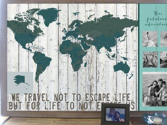Large World Map Framed.Push Pin Maps Framed World Map Worldmap World Travel Decor Kids