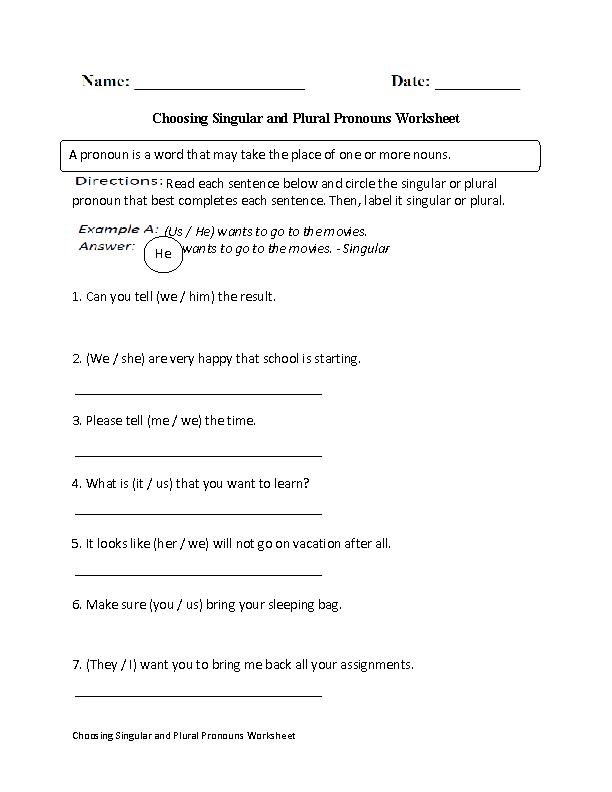 Singular and Plural Pronouns Worksheet Identifying | Pronoun fun ...