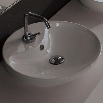 Scarabeo by Nameeks Shape Oval Ceramic Vessel Sink with Single Hole and Overflow