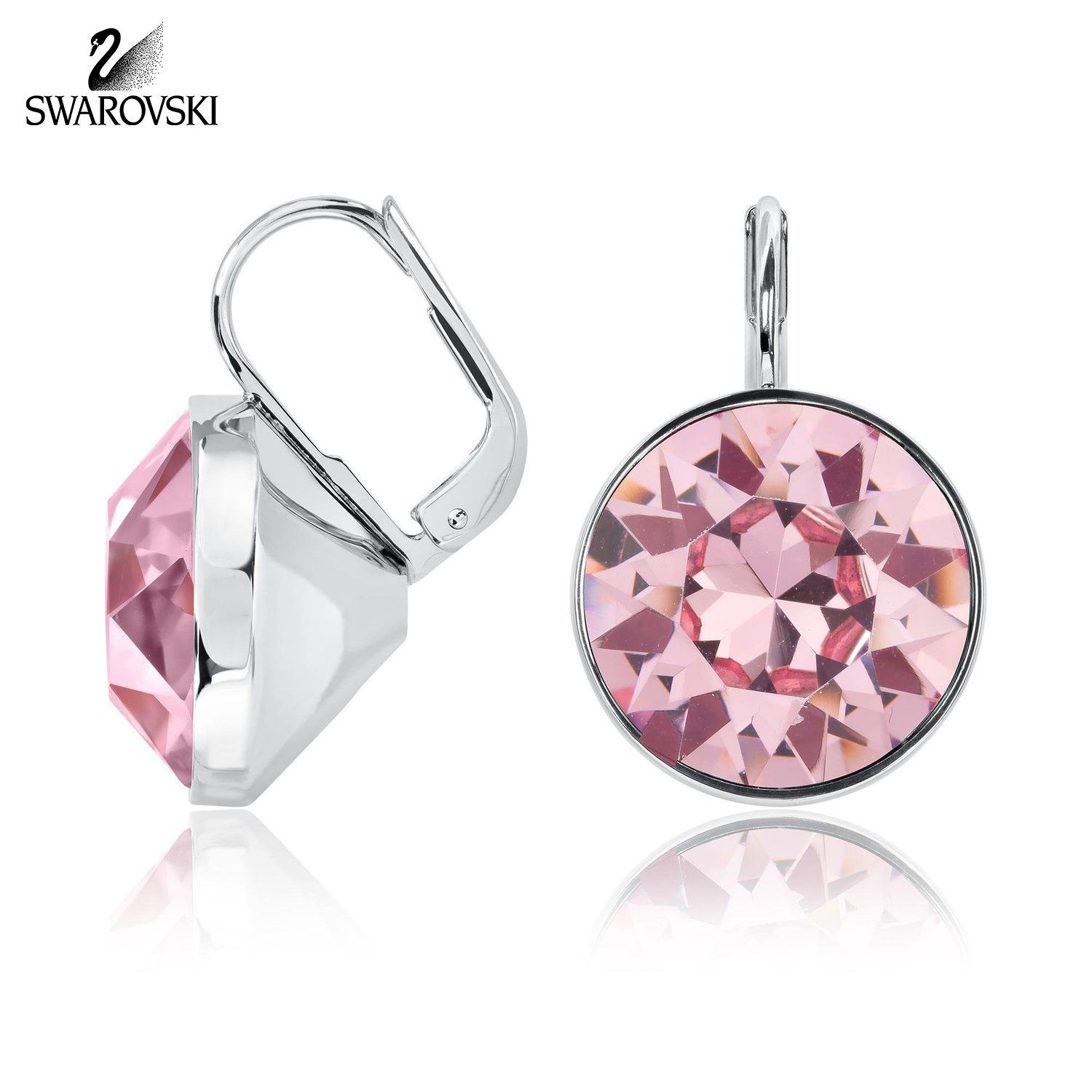 3c756b223f8f84 Swarovski Pink Crystal BELLA Mini Rose Pierced Earrings Rhodium #5007739