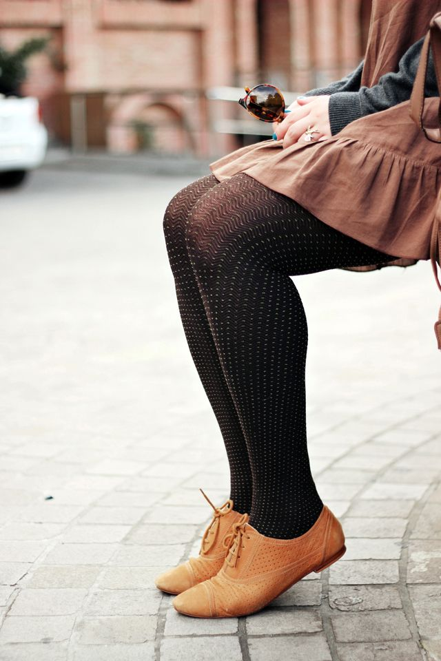 textured tights + oxfords