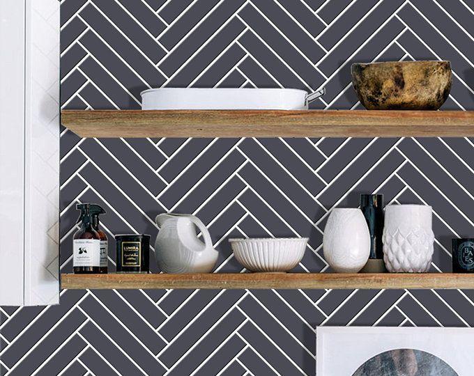 Kitchen and Bathroom Splashback - Removable Vinyl Wallpaper - Vichy Black - Peel & Stick #bathroomsplashback Kitchen and Bathroom Splashback Removable Vinyl Wallpaper | Etsy #bathroomsplashback