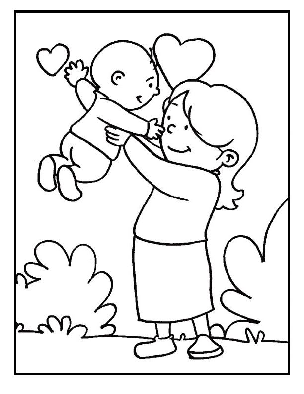 Baby and mom on mother s day coloring picture for kids for Mom and baby coloring pages