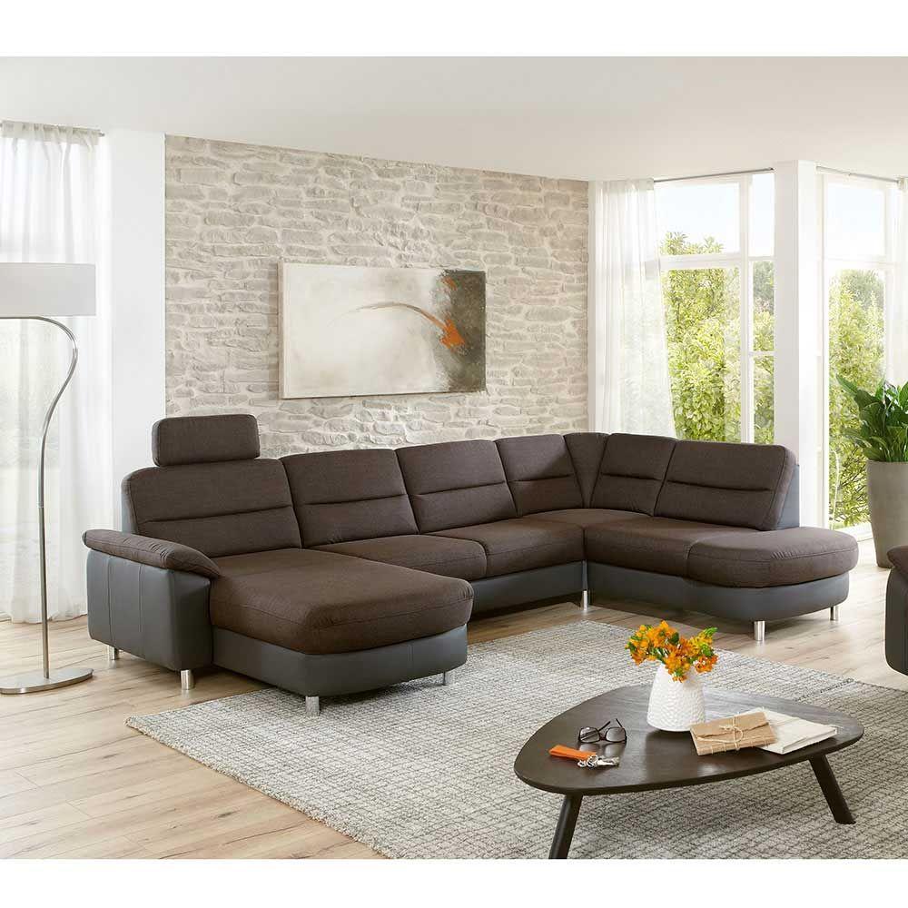 couchlandschaft in braun grau schlaffunktion jetzt bestellen unter httpsmoebelladendirektdewohnzimmersofaswohnlandschaftenuidd4fd8fc3 a3d4 5b92 - Wohnzimmer Sofa Grau