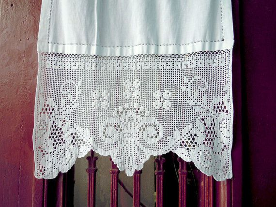 White Handmade Curtain With Atrante And Lace   Cottage Chic   Mediterranean  Style  Greek Traditional Amazing Pictures