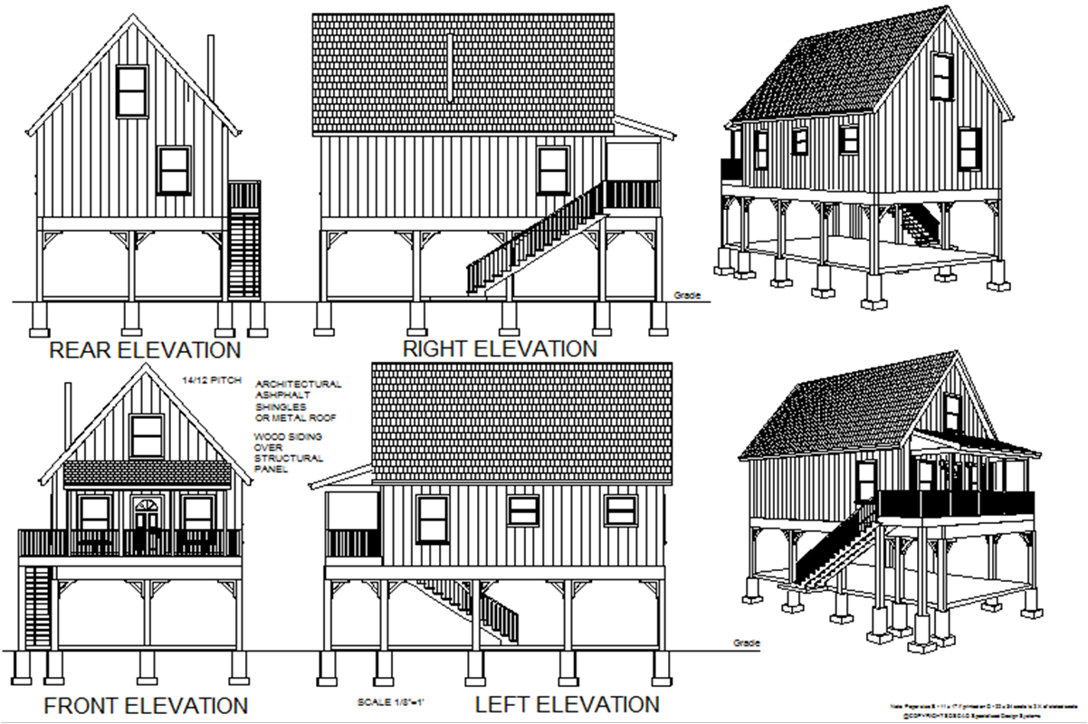 216 aspen cabin plans converted to to raised flood plain for Cabin house plans free