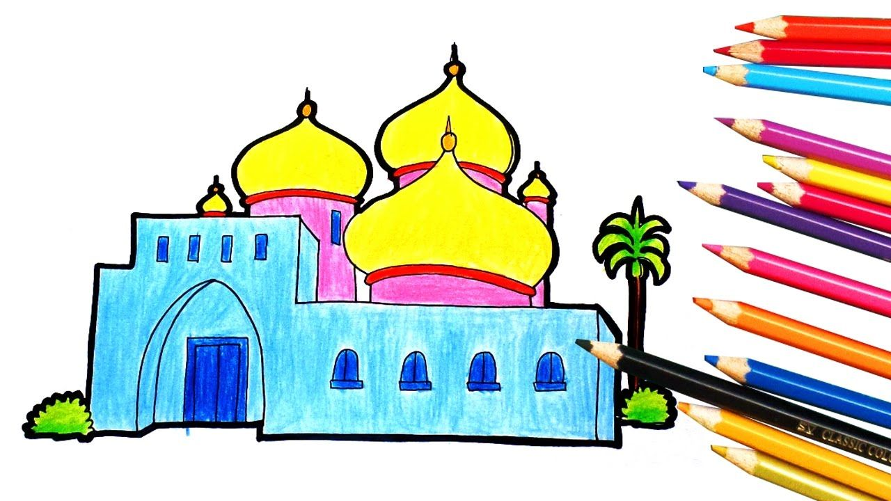 Cara Mewarnai Gambar Pemandangan Masjid Kartun Anak Islami Jamal