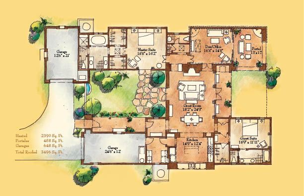 adobe style home with courtyard santa fe style meets traditional house plans home - Adobe Style House Designs