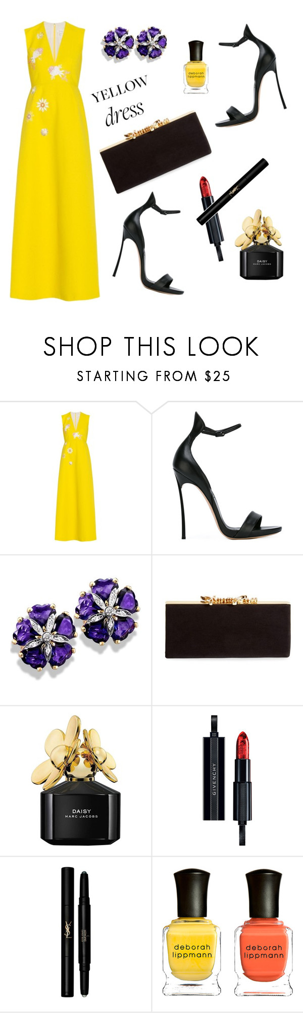 """Untitled #245"" by ivanov1234491 ❤ liked on Polyvore featuring Delpozo, Casadei, Jimmy Choo, Marc Jacobs, Givenchy, Yves Saint Laurent and Deborah Lippmann"