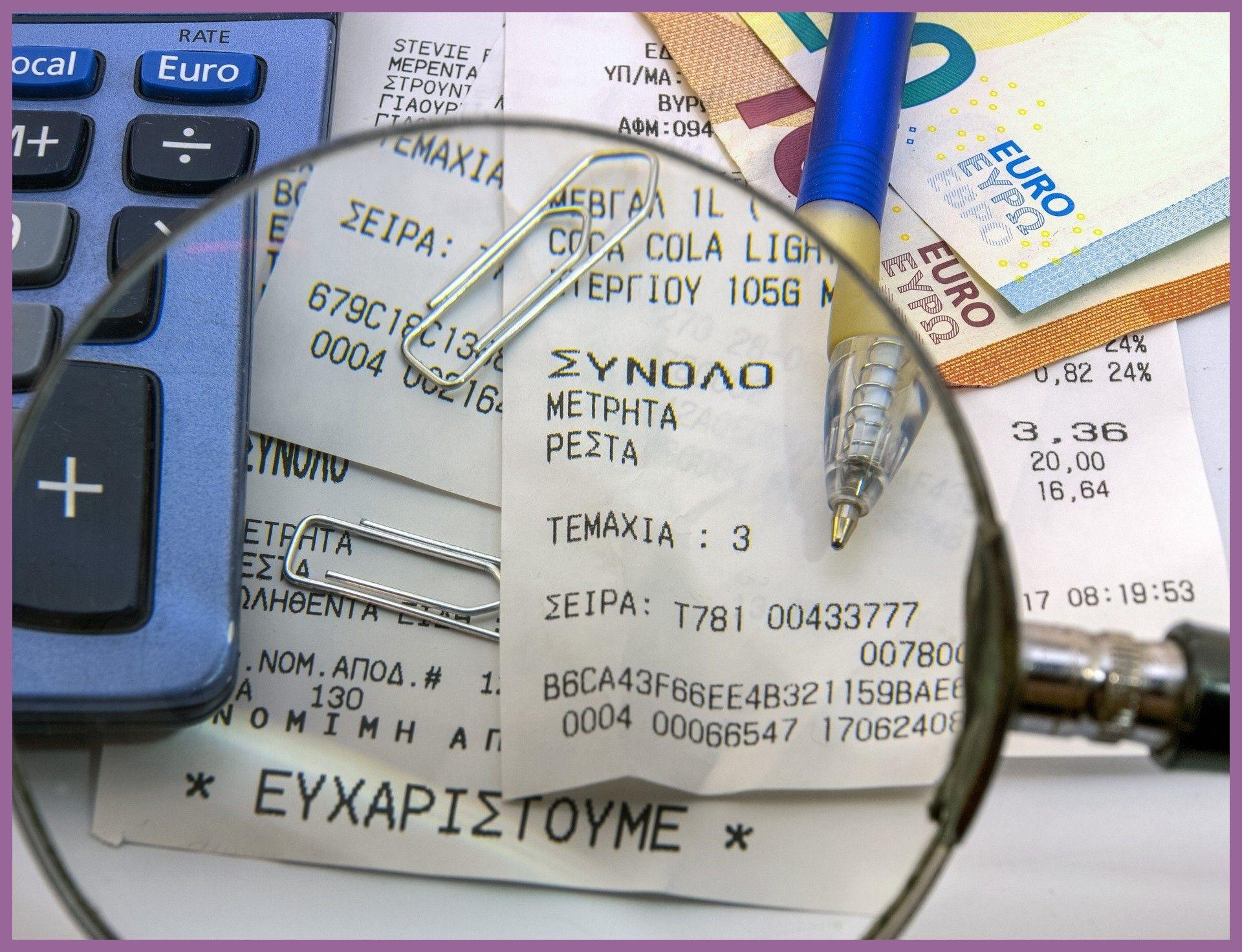 Receipts Tax Office Bank Notes Quittungen Finanzamt