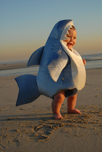 Baby shark! do do do do do do (now i have the song stuck in my head...oh man our kids are gonna kill us at their graduations/weddings for all the awesome baby pictures we'll have like this!)