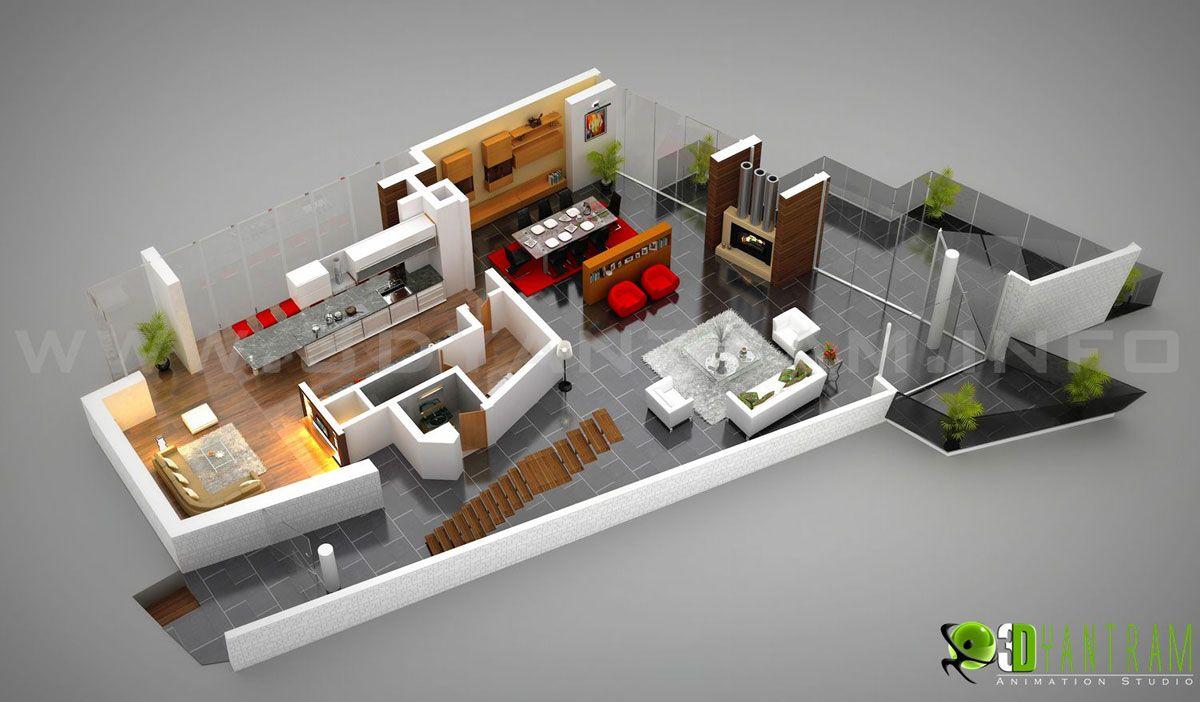 3D Interactive Residential Ground Floor Plan
