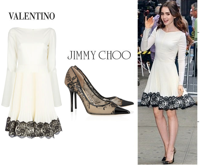 Lily Collins In Valentino Dress Jimmy Choo Shoes Fashionista