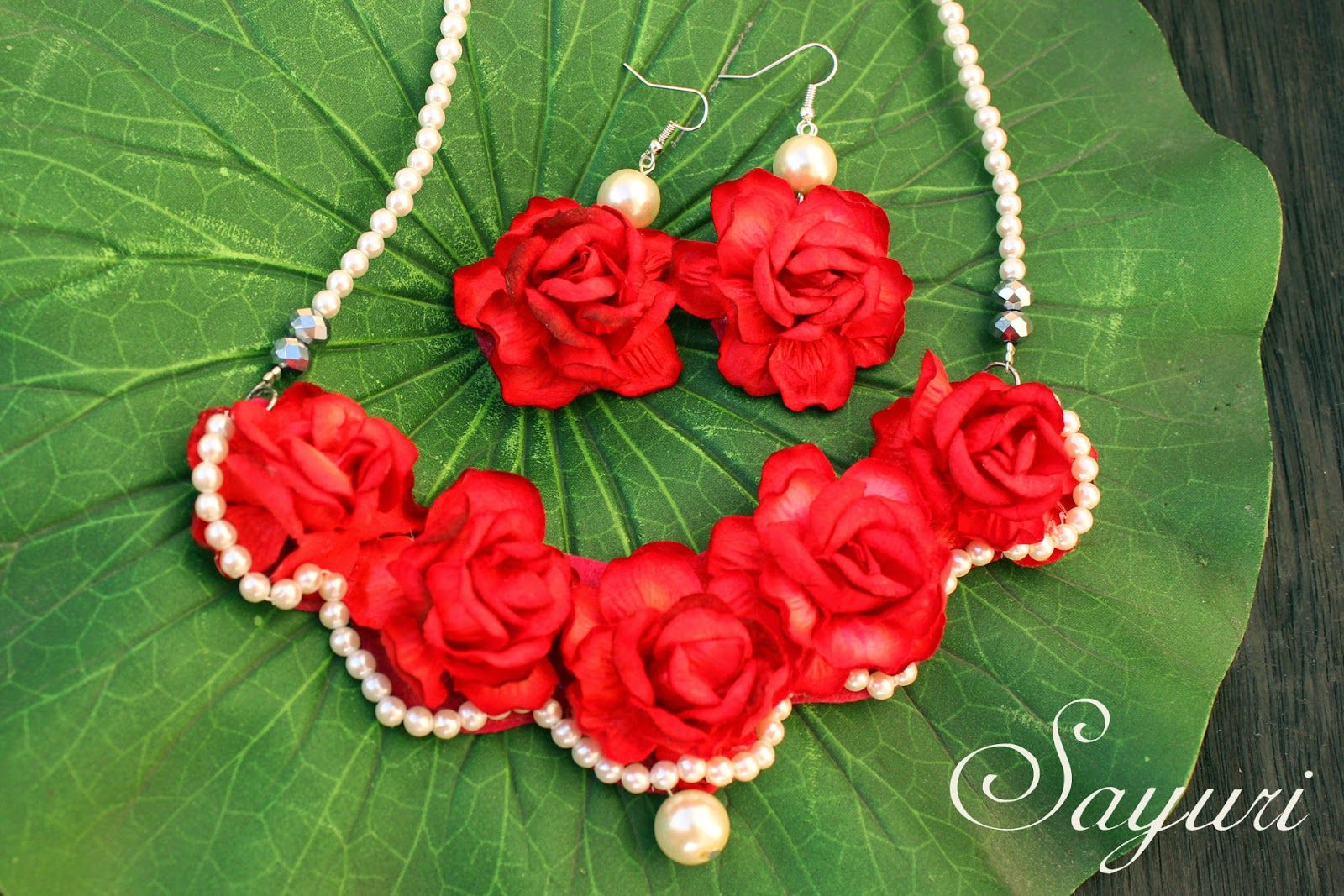 Paper rose necklace and earrings bridal flower jewellery