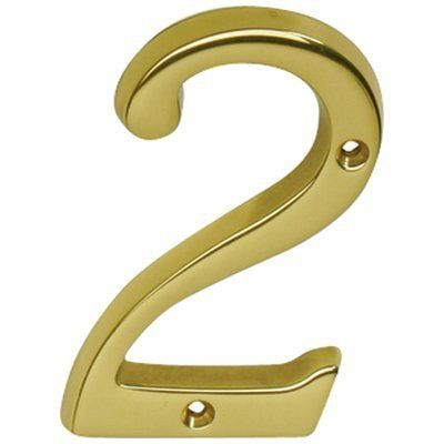 Schlage Sc23026605 Polished Brass Address Numbers 4 Inch Height Number 2 Solid Brass House Number By Schlage Lock Company Classic House House Numbers Schlage