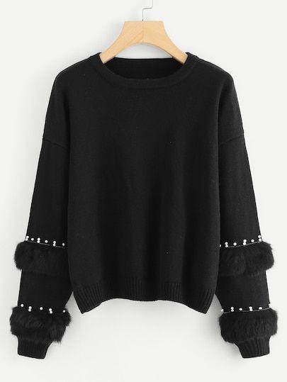 Shein Pearl Beading Faux Fur Detail Sweater