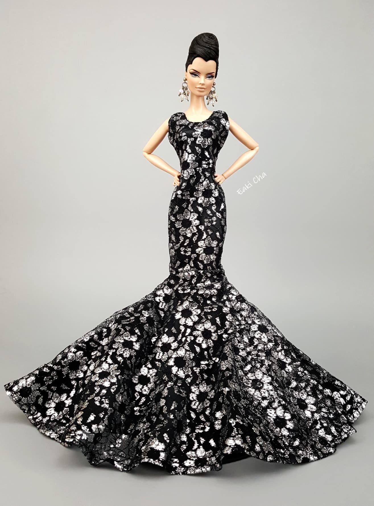 Eaki HandMade White Black Dress Outfit Gown For Silkstone Fashion Royalty FR