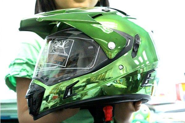 Green Chrome Master Chief On Road Atv Motorcycle Helmet Helmet Motorcycle Helmets Green Chrome
