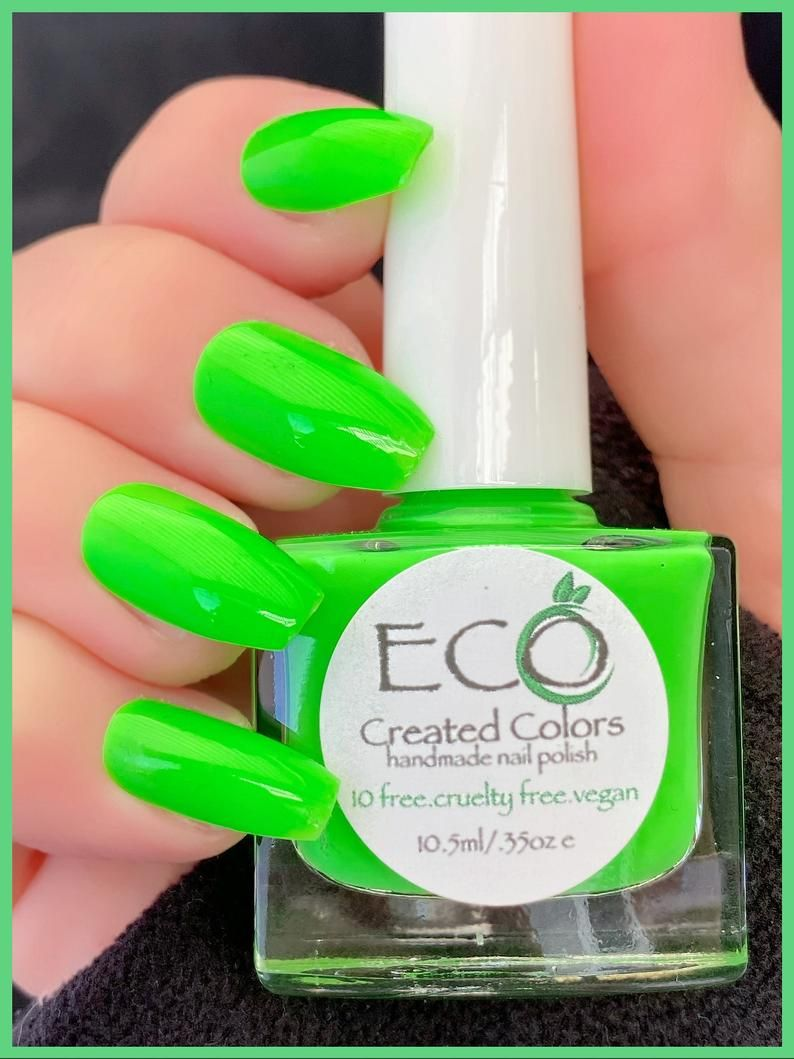 Green Neon Nail Polish Nail Lacquer 10 Free Nail Polish Etsy In 2021 Neon Nail Polish Neon Green Nails Nail Polish