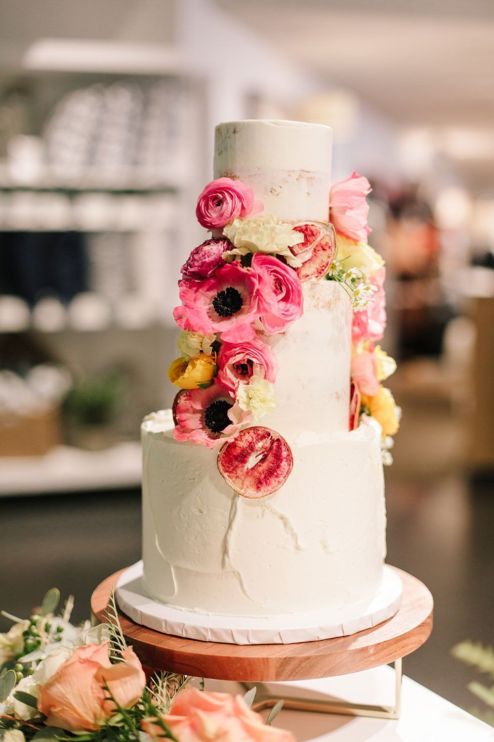 Cake With Pink Flowers Running Down The Side Wedding Cakes