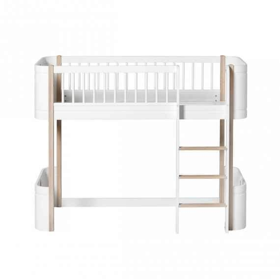 Oliver Furniture - Wood Mini + Low Loft Bed - Oak and White