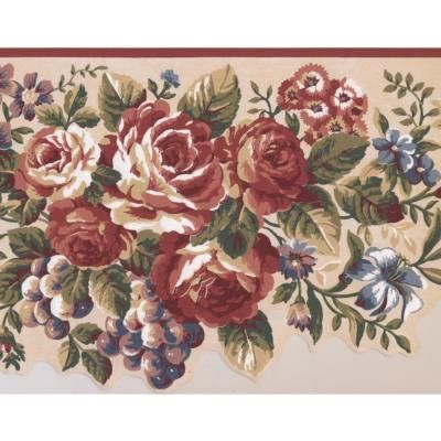 Retro Art Red Blue Flowers Grapes Vintage Beige Prepasted Wallpaper Border, Multi #blueflowerwallpaper