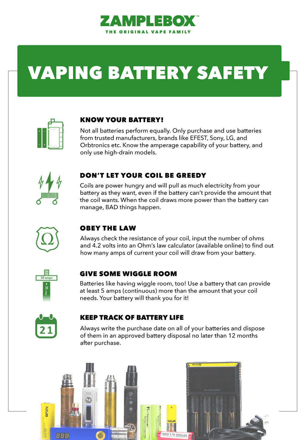 The ZampleBox Vaping Battery Safety page is a resource to educate vapers on  all aspects of