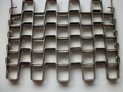 Stainless steel heavy duty flat wire belt with clinched edge.