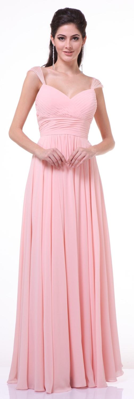 Beaded Cap Sleeves Sweetheart Bridesmaid Dress Blush Chiffon