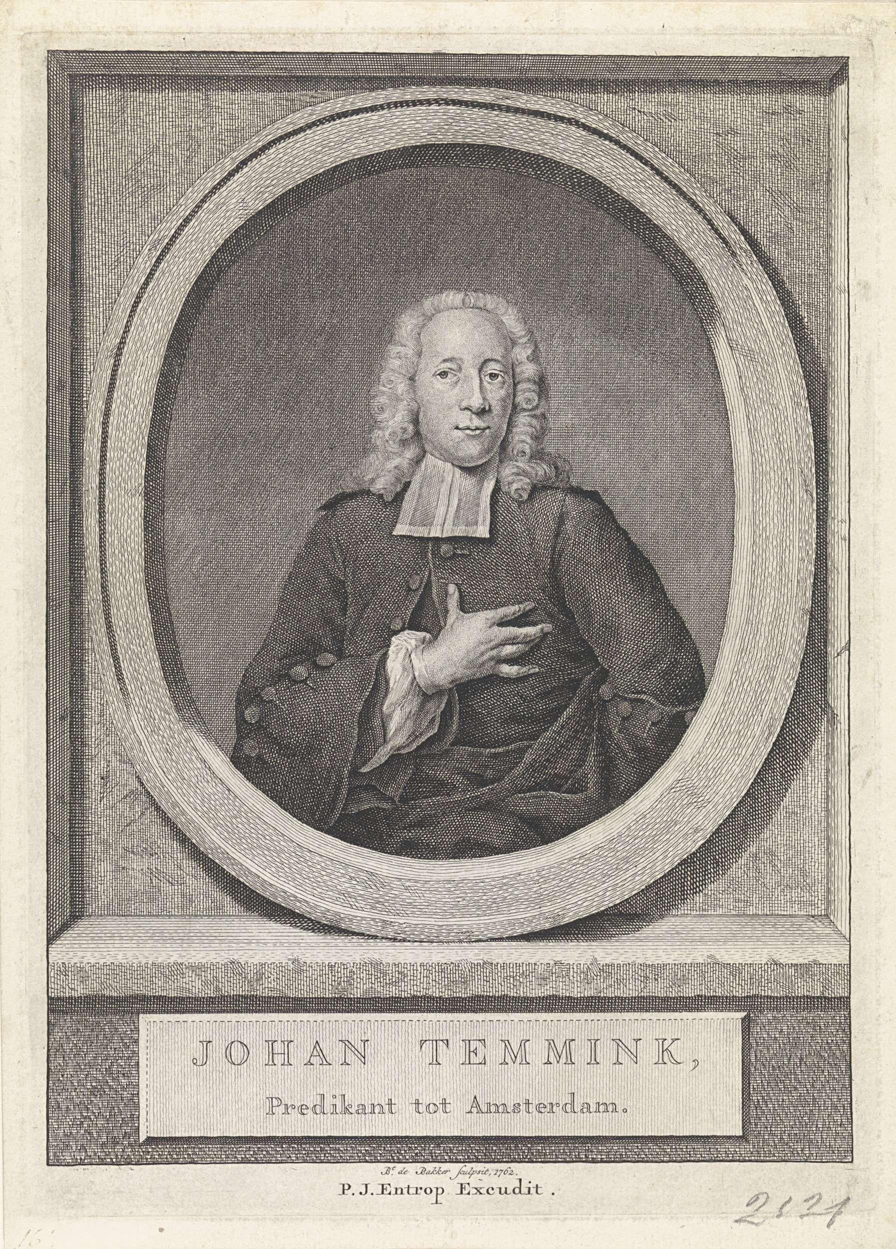 Barent de Bakker | Portret van gereformeerde predikant  Joan Temmink, Barent de Bakker, Pieter Jan Entrop, 1762 |