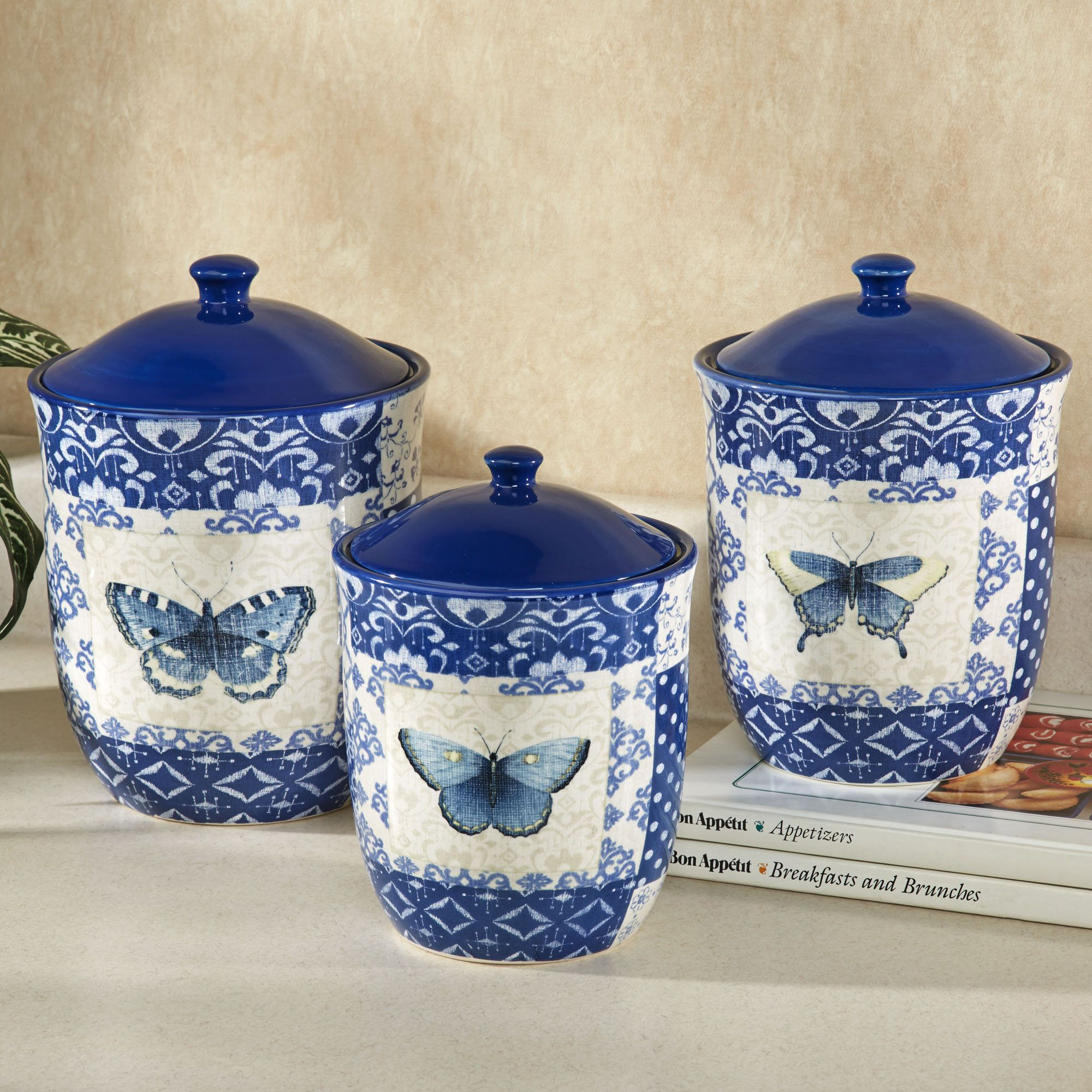 Indigo Nature Butterfly Kitchen Canister Set Kitchen Canisters Kitchen Canister Sets Kitchen Decor