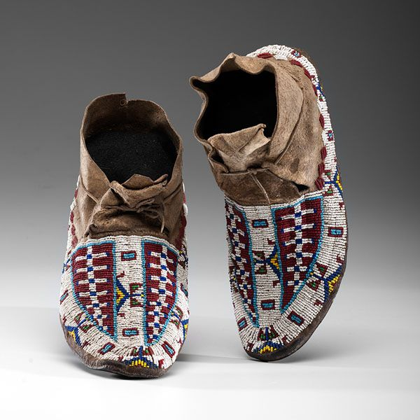 Cheyenne Beaded Hide Moccasins (4/04/2014 - American Indian Art: Live Salesroom Auction)