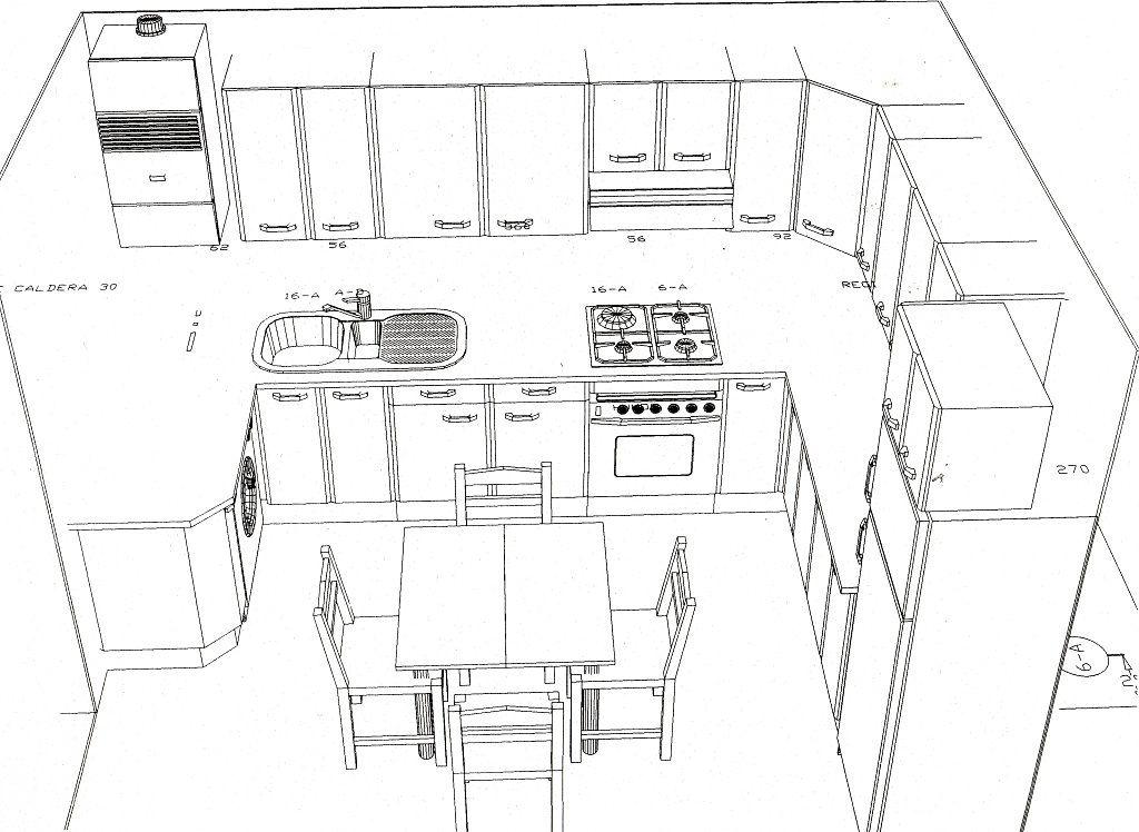 Resultado de imagen para cocinas americanas tipo l con for Como hacer un plano de una cocina
