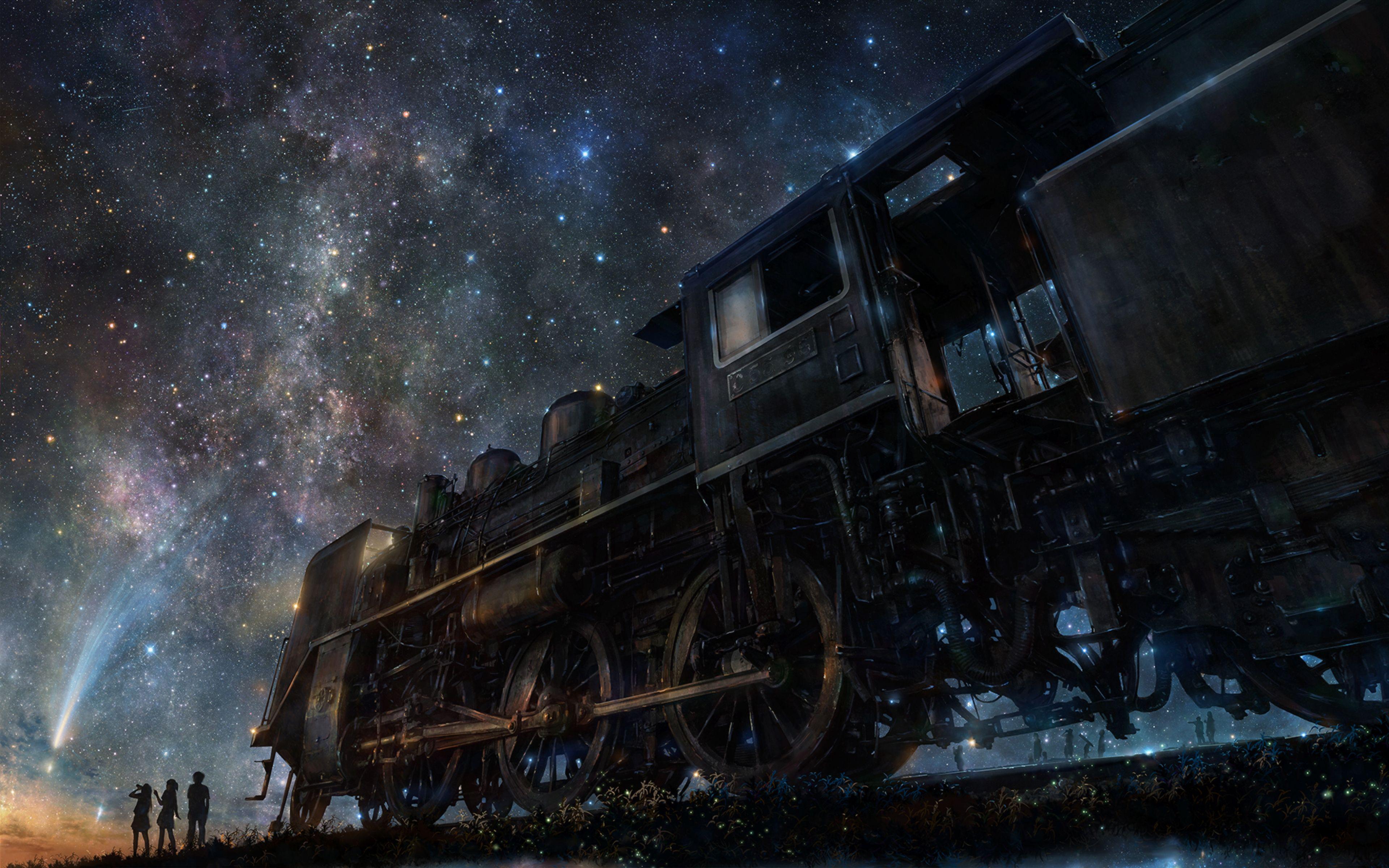 3840x2400 Wallpaper iy tujiki, art, night, train, anime
